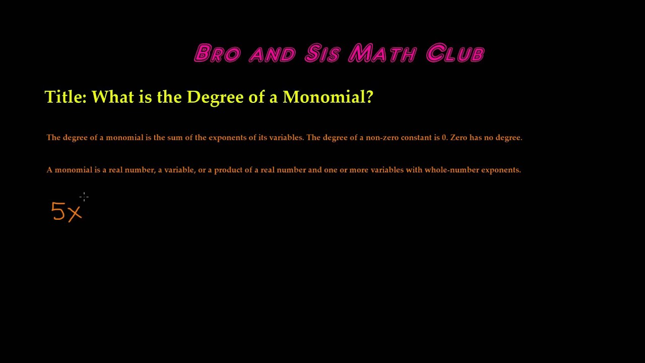 worksheet Degree Of A Monomial degree of a monomial algebra i youtube i
