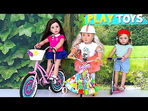 Thumbnail: Baby Doll Bike Toy - Play American Girl Dolls Birthday Surprise toy & Baby Doll Ice Cream Shop toys
