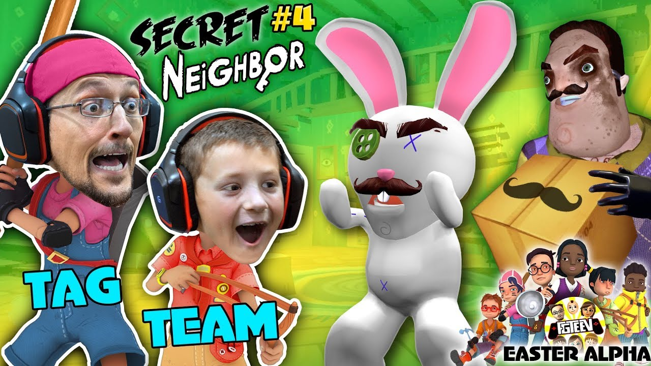HELLO NEIGHBOR gets TROLLED! EASTER ALPHA HIDE n SEEK Time! (FGTEEV plays Secret Neighbor #4)