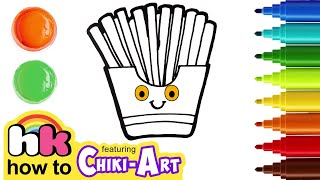 Learn How to Draw French Fries ? Cute Learn Colors for Kids | HooplaKidz How To