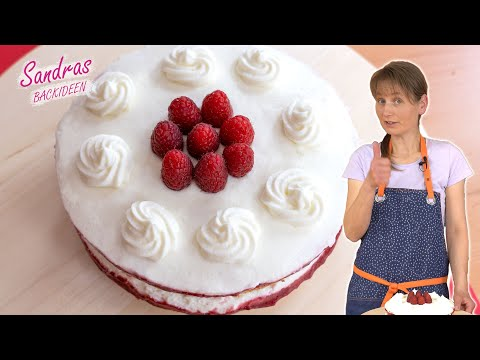 Himbeer-Quark-Sahne-Torte - einfaches Rezept super lecker | Naked Cake mit Himbeeren | Joghurt-Torte