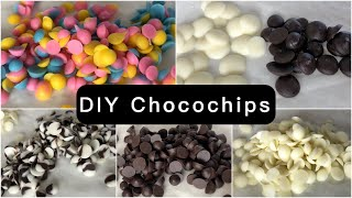 DIY Chocochips  Chocochips at home  6 types of homemade chocochips  Coloured chocochips