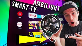 USB AMBILIGHT for SMART TVS (No Raspberry PI) feat. CHiQ Android TV