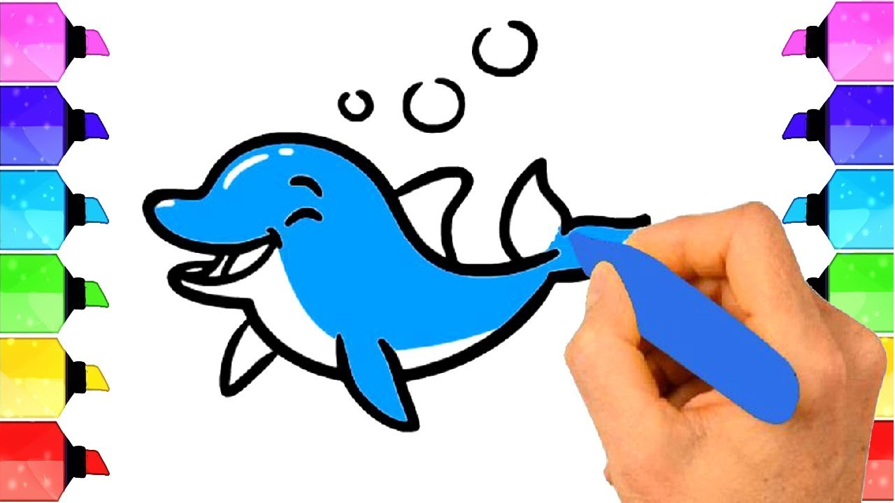 How to draw a dolphin cute easy animals coloring page to learn colors drawing extra