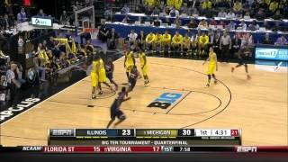 Illinois Basketball Highlights vs Michigan BTT Quarterfinals 3/14/14