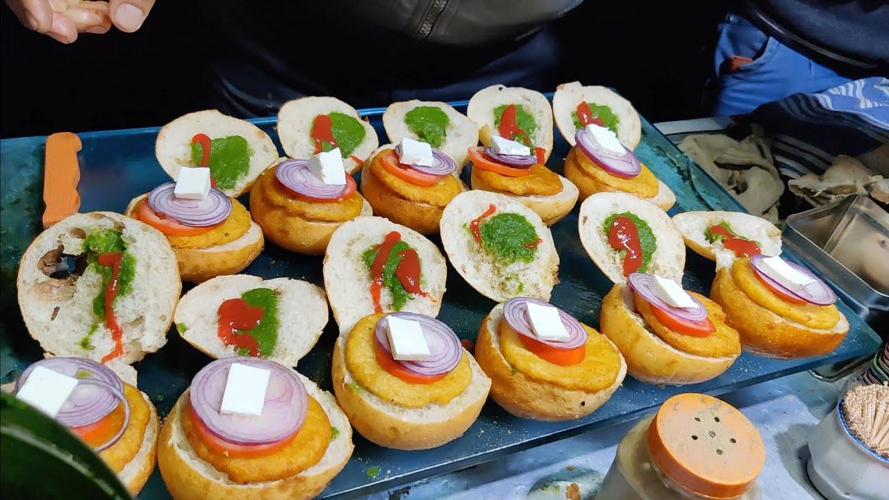 Indian Bun Fried Burger | Delhi's Popular Aloo Tikki Burger | Indian Street Food