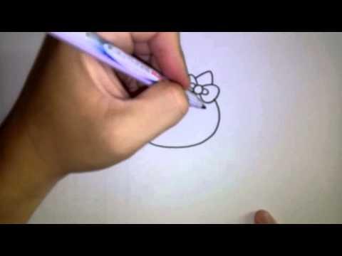 สอนวาดรูป การ์ตูน คิตตี้ Hello Kitty ท่ายืน