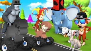 Animal Toy Cars Race | Funny Animals Videos | Animals Cartoons | Animals Racing Videos