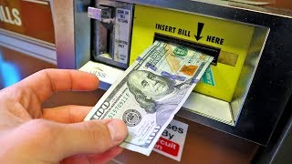 Putting a $100 Bill in a Change Machine at the Arcade!