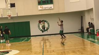 Jarell Eddie shoots after first Boston Celtics practice