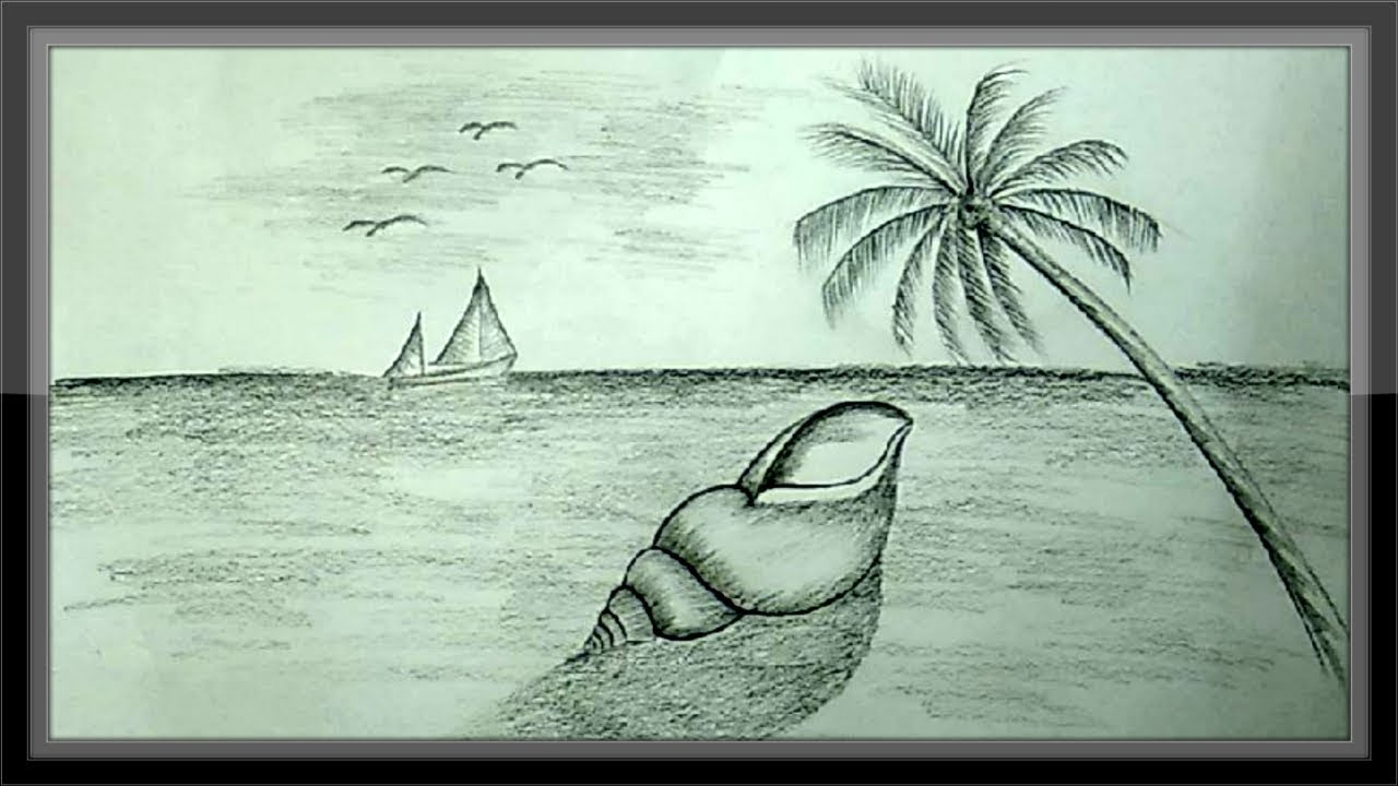 Cool pencil drawing natural beach landscape background scenery