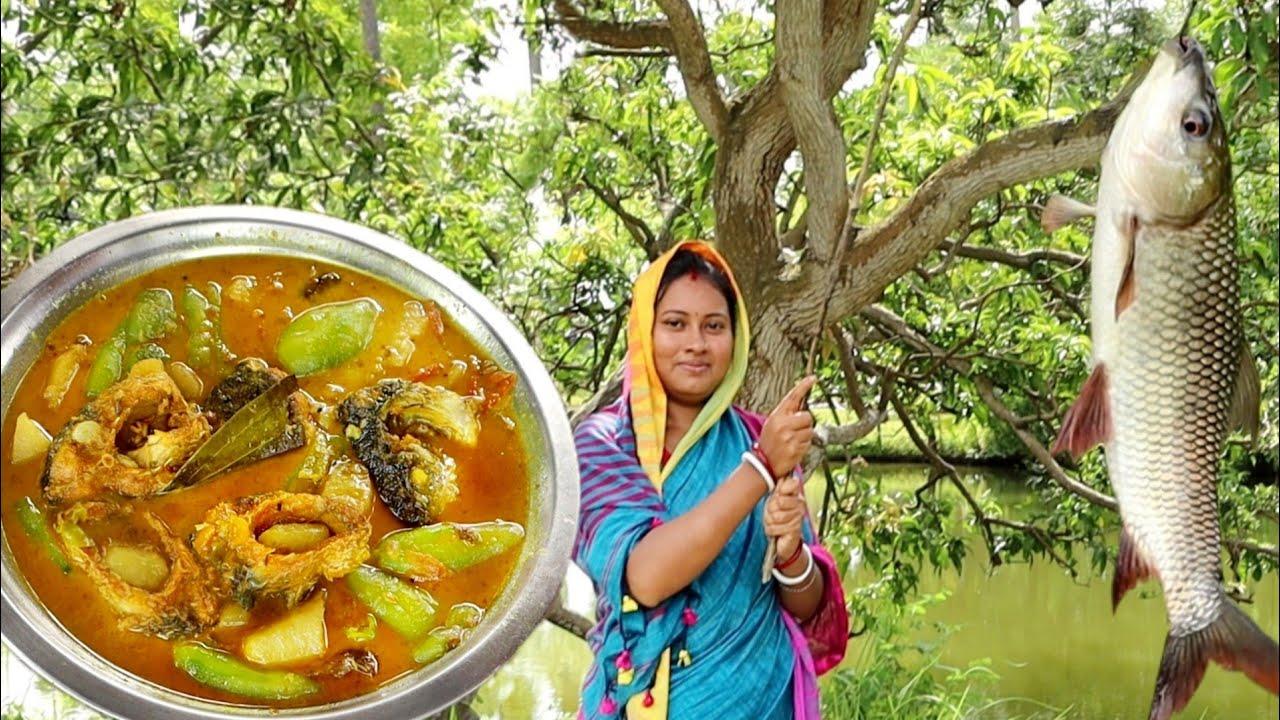 amazing hook fishing & cooking desi rui fish masala curry recipe in village style || bengali rec