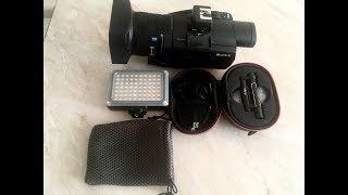 Распаковка:Адаптер для горячего башмака Sony, Светодиодный фонарь Yongnuo, петличка Aputure A  Lav