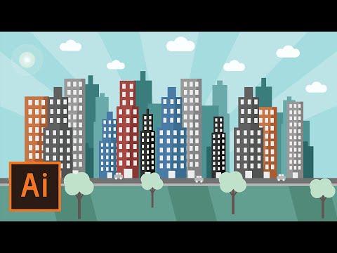 Illustrator Tutorial - Urban City Landscape (Flat Design)