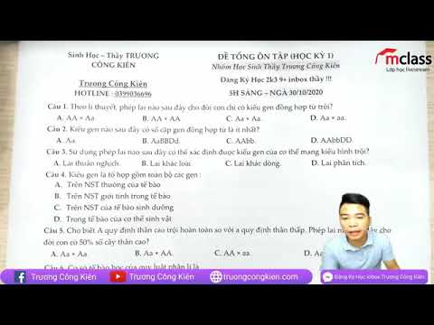 Thầy Kiên - Sinh 12 - Ôn tập HK1 #2