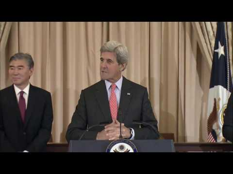 Secretary Kerry delivers remarks at the Swearing- In Ceremony for Ambassador Sung Kim