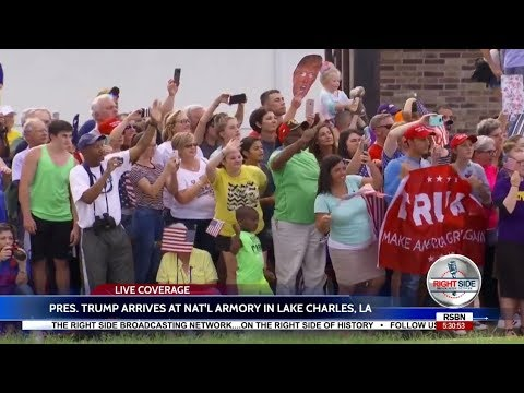 PRESIDENT TRUMP ARRIVES AT NATIONAL ARMORY IN LAKE CHARLES, LA
