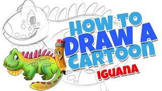 How to draw a cartoon Iguana | step by step cartoon Iguana