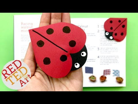 Ladybug Corner Bookmark DIY - How to make a Corner Bookmark Summer - Ladybird Bookmark How To