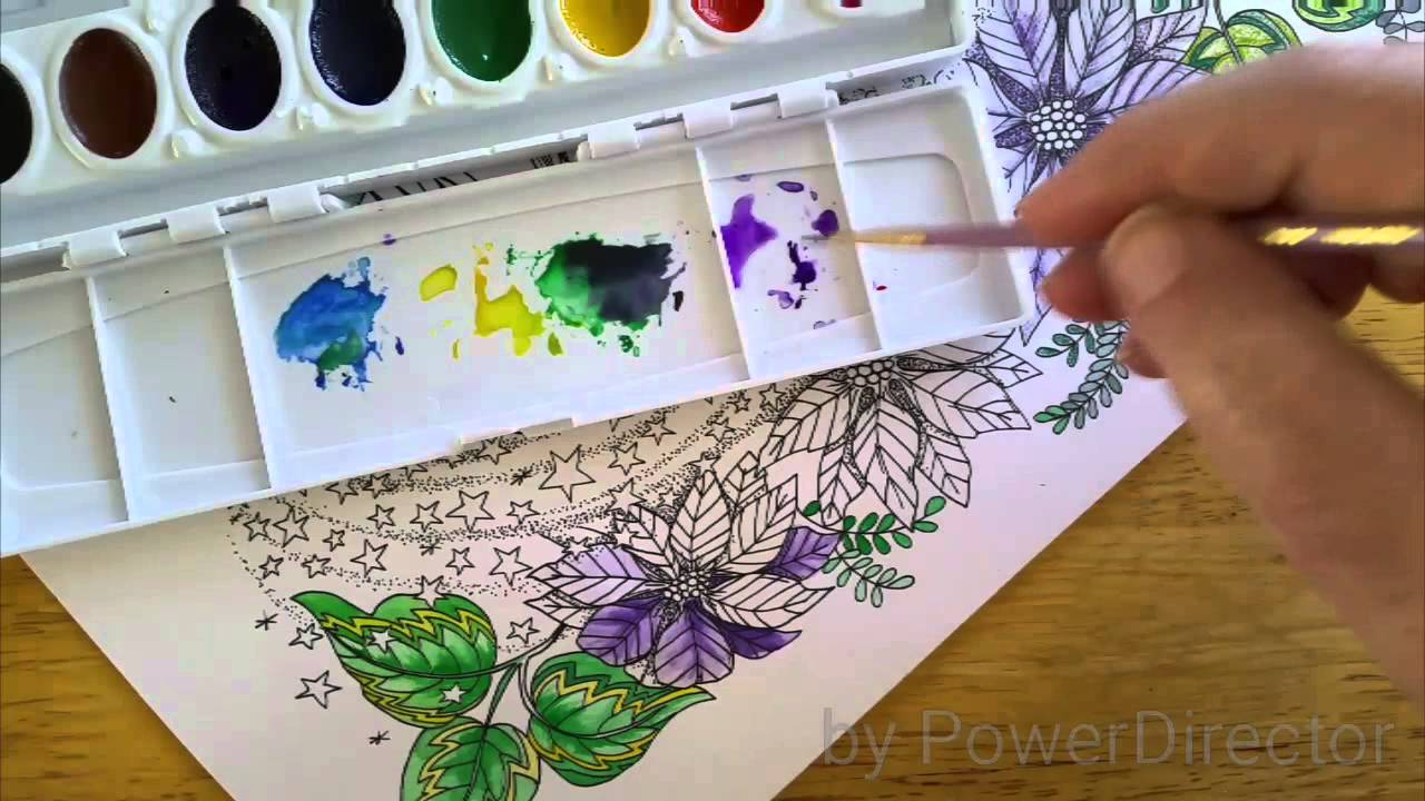 Watercolor shading for Coloring book flowers - YouTube