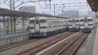 JR鹿児島本線・香椎駅、今しか見られない鉄道風景・ディーゼルカー3本並び