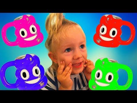 💩🎨 Funny Baby Learn Colors with colored Emoji Poop | Nursery Rhyme Song For Kids Esl