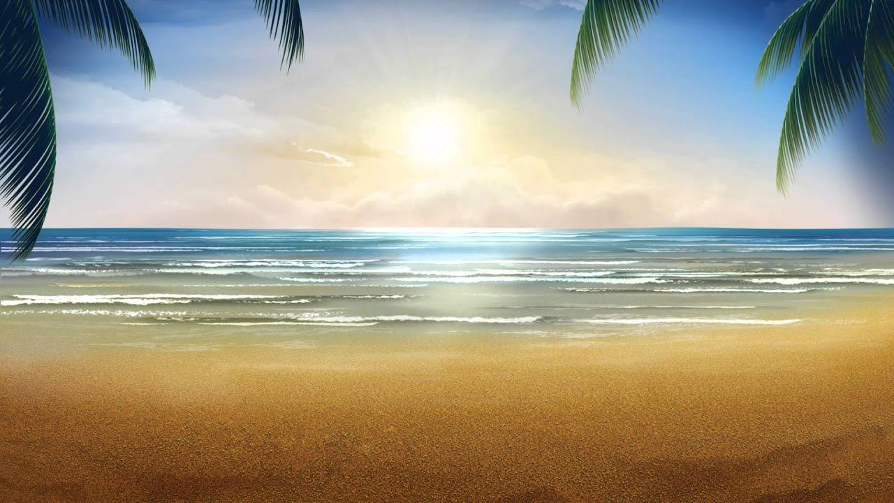 Tropical Island Beach Ambience Sound: خلفية فيديو للمونتاج يوم على الشاطئ HD