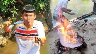 เอาชีวิตรอด หายิงปลาดำหอย ทำเมนูกระทะไฟระเบิด ในพม่า
