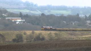 class 66 engineers trains x 2 6y12 + 6w26 @ Newton st Loe 24-02-13