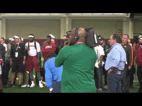 Watch Patriots coach Bill Belichick take a close look at the Alabama defensive line