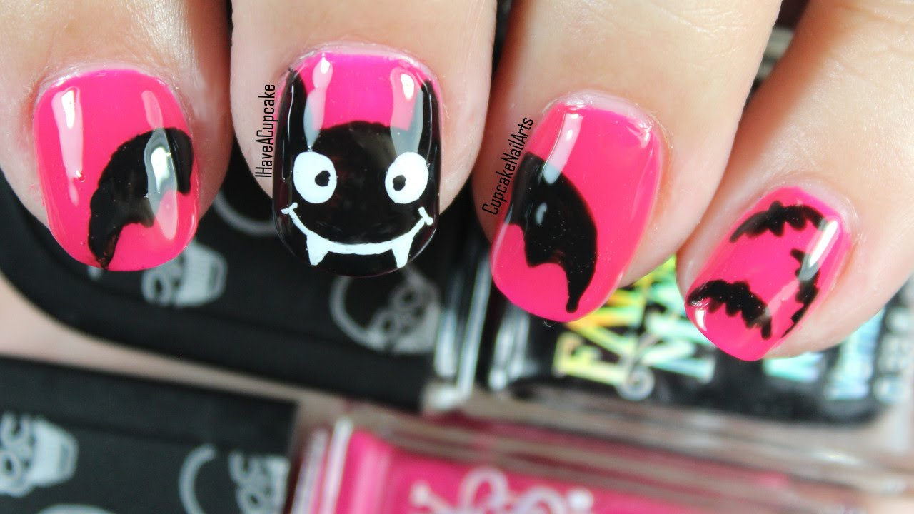 Halloween nails halloween nail art pink bats youtube prinsesfo Gallery