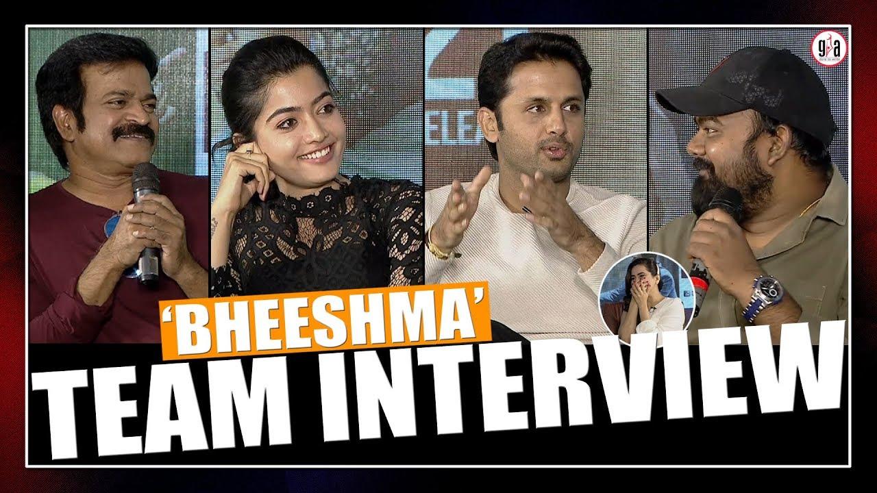 రష మ కన ద ర ణ గ ఆడ స క న న ర Bheeshma Team Interview Nithin Rashmika Mandanna Greatandhra Youtube