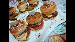 Burgers double cheese viande طريقة تحضير خبز البرڨر مع الحشو و صلصة الجبن