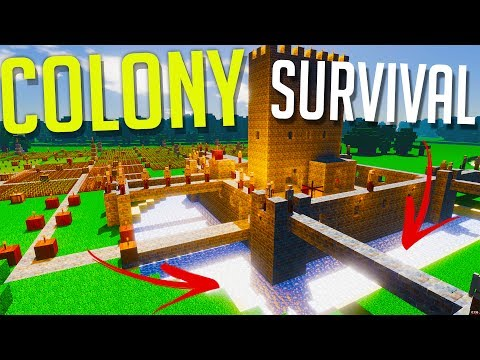 Colony Survival Gameplay - Building A Moat - ALMOST DROWNED MY COLONY! - Largest Colony Yet 130+