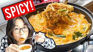 SPICY Korean Tofu Soup Village in Gangneung (ft. Heyitsfeiii)