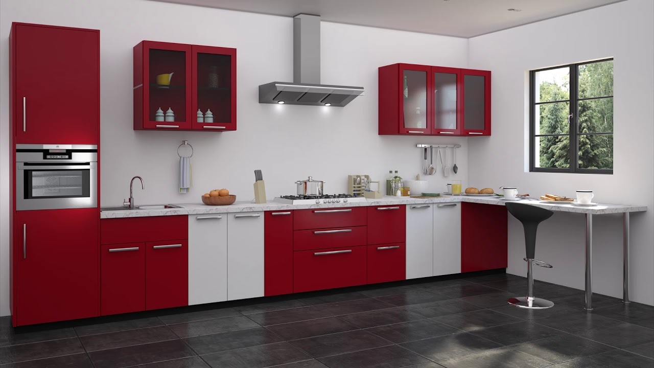 Marvelous Red And White Kitchen Cabinets Youtube