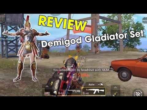 PUBG MOBILE   REVIEW Demigod Gladiator Set    Top 1 2xKill   Oppa J.Y.L