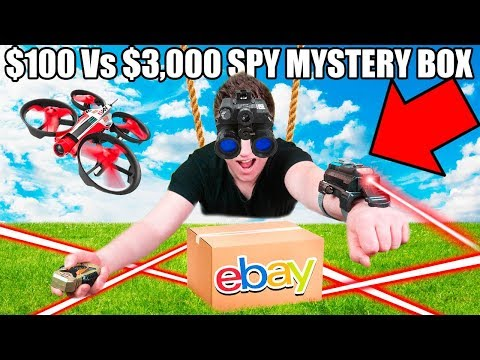 $100 Vs $10,000 SPY GADGETS EBAY MYSTERY BOX  Night Vision Googles, Drones, Toys  & More!