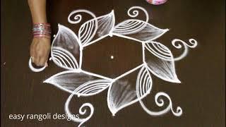 beginners rangoli kolam designs with dots * easy & simple peacock muggulu * daily kolam