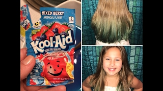 DIY: How to color your hair with Kool-Aid! Mermaid blue/green - Teal: Dip Dye tips