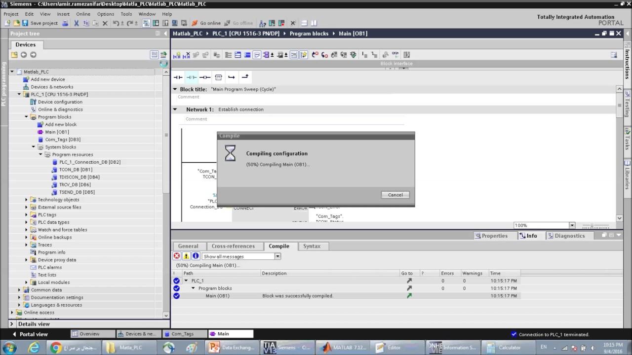 Communication between Matlab and Siemens PLC Using TCP
