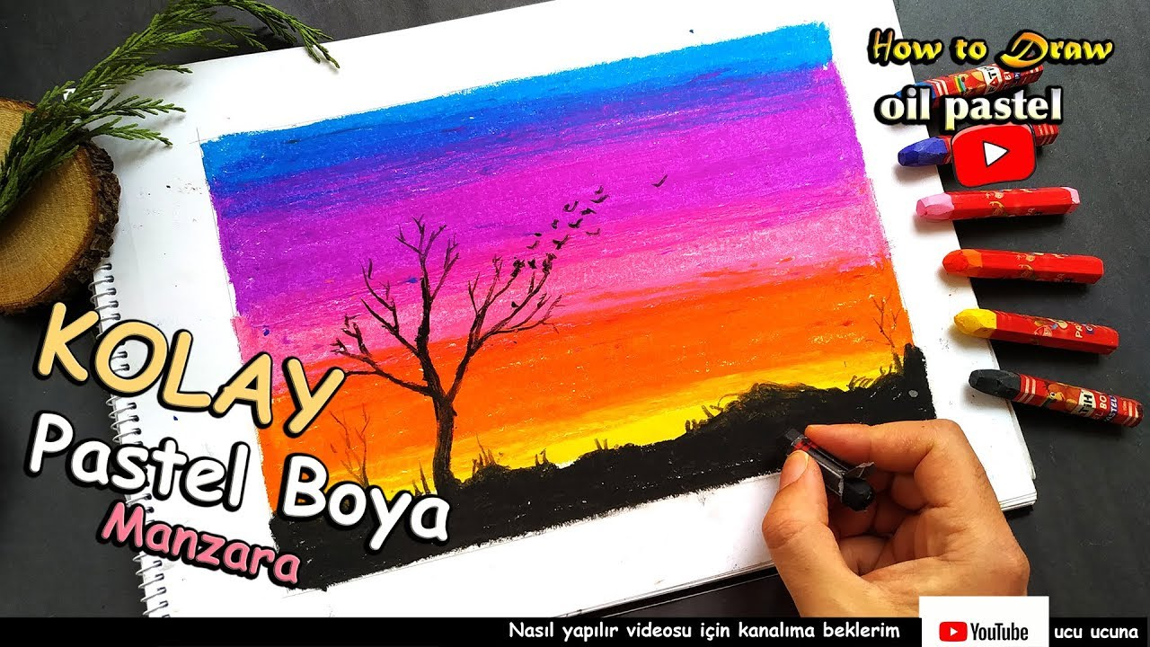 How To Draw Sunset With Oil Pastel Step By Step Easy Turkish