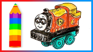 How to Draw Percy the Train as Robin ♦ Thomas and Friends Minis ♦ Drawing and Coloring Lesson
