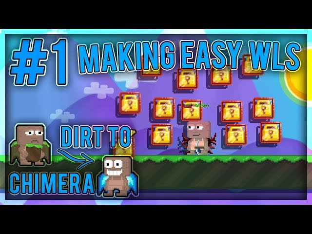 Getting EASY 14 Wls! - Dirt To Chimera Wings #1 - Growtopia