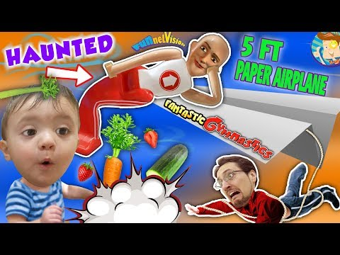 HAUNTED FANTASTIC GYMNASTICS   BABY vs VEGGIES   LIFE HACK & GIANT PAPER PLANE FUNnel V Vl