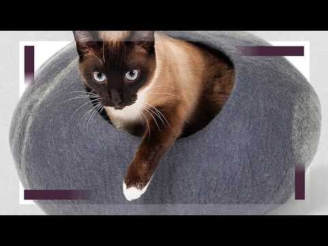 Twin Critters - Handcrafted Cat Cave Bed (Large) ] Ecofriendly Cat Cave