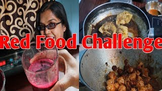 || Red Food Challenge for 24hrs ||by disscussing with munmun