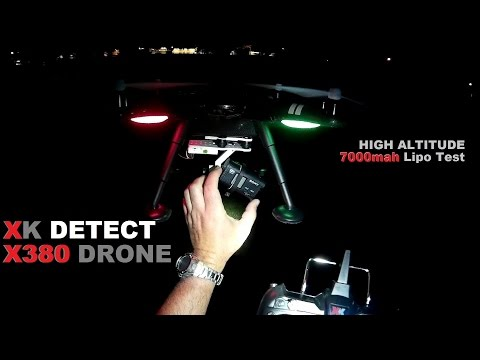 XK DETECT X380 GPS Drone Night Flight - [Mods, 7000mah, High Altitude Range Test]