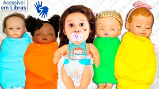 👋🏻 LIBRAS 👋 Valentina Pontes brinca de cuidar dos seus bebês  Reborn
