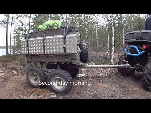 ATV camping trip with articulated hitch offroad Trailer